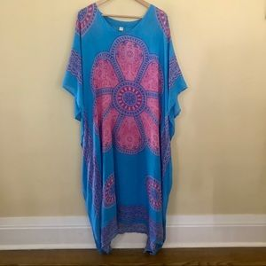 Dresses & Skirts - Paisley Caftan Dress in Pink and Blue